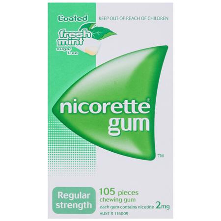 Nicorette Quit Smoking Gum Regular Strength 2mg Freshmint 105 Pack
