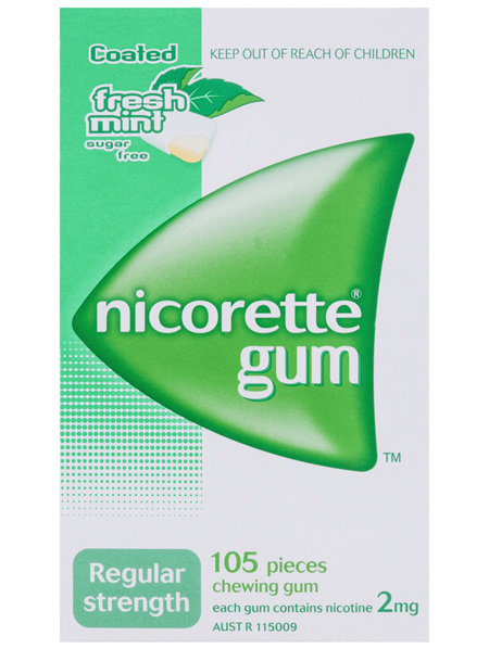 Nicorette Quit Smoking Gum Regular Strength 2mg Freshmint 105 Pack