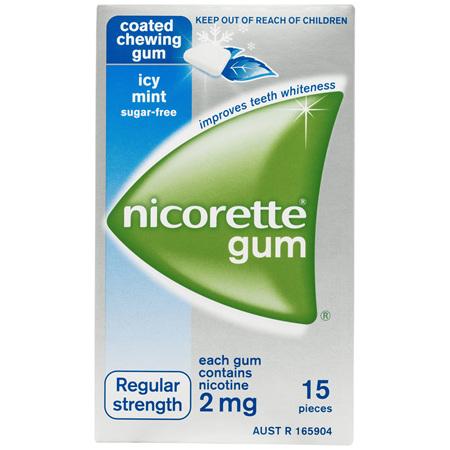 Nicorette Quit Smoking Gum Regular Strength 2mg Icy Mint 15 Pack