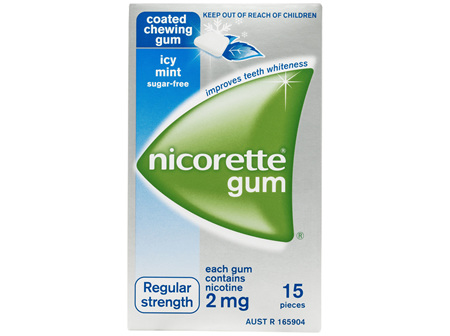 Nicorette Quit Smoking Gum Regular Strength 2mg Icy Mint 15 Pack