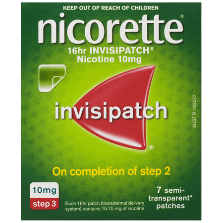 Nicorette Quit Smoking Nicotine 16 Hour Invisipatch Step 3 7 Pack