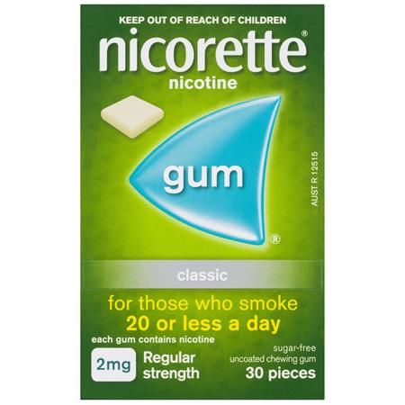 Nicorette Quit Smoking Nicotine Gum Classic 2mg Regular Strength 30 Pack