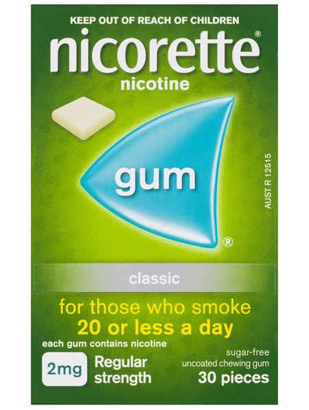 Nicorette Quit Smoking Nicotine Gum Classic 2mg Regular Strength 30 Pack