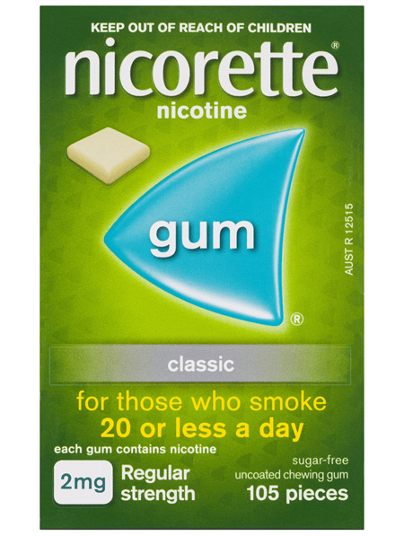 Nicorette Quit Smoking Nicotine Gum Classic 2mg Regular Strength 105 Pack