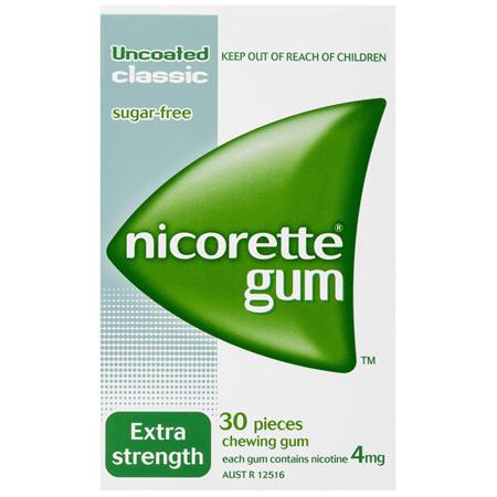 Nicorette Quit Smoking Nicotine Gum Classic 4mg Extra Strength 30 Pack