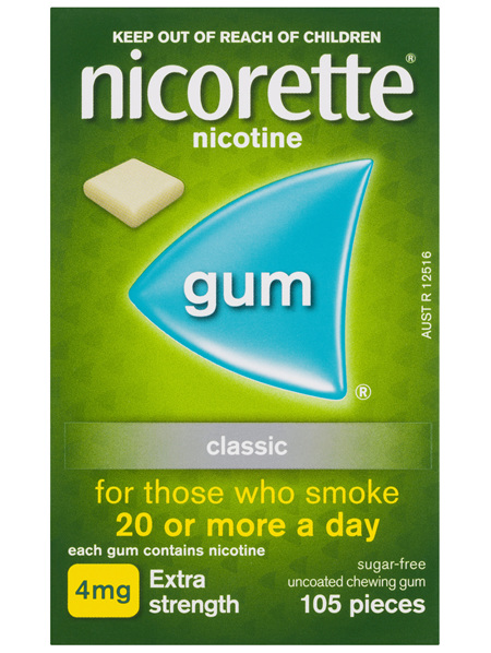 Nicorette Quit Smoking Nicotine Gum Classic 4mg Extra Strength 105 Pack