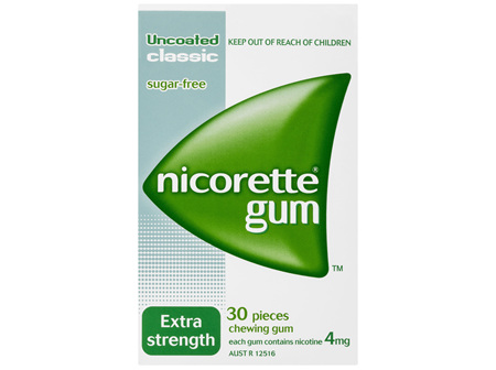 Nicorette Quit Smoking Nicotine Gum Classic 4mg Extra Strength 30 Pack
