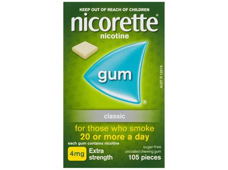 Nicorette Quit Smoking Nicotine Gum Classic 4mg Extra Strength 105 Pack