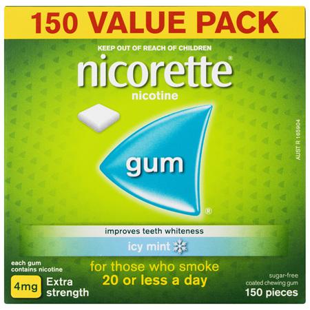 Nicorette Quit Smoking Nicotine Gum Extra Strength Icy Mint 150 Pack