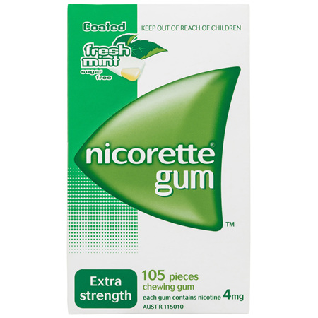 Nicorette Quit Smoking Nicotine Gum Extra Strength 4mg Freshmint 105 Pack