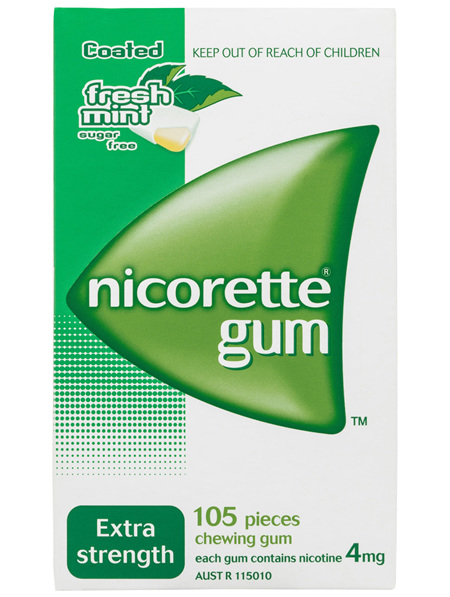 Nicorette Quit Smoking Nicotine Gum Extra Strength 4mg Freshmint 105 Pack