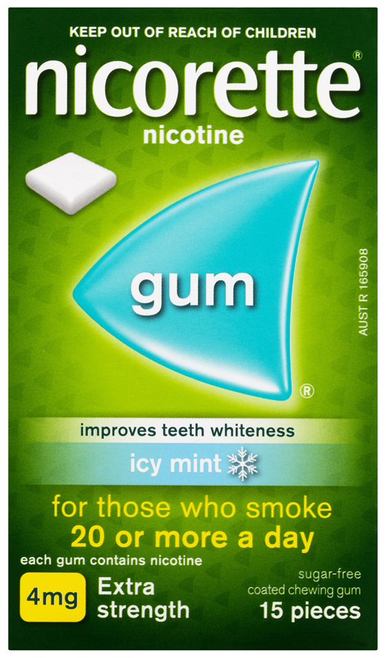 Nicorette Quit Smoking Nicotine Gum Extra Strength Coated Icy Mint 15 Pack