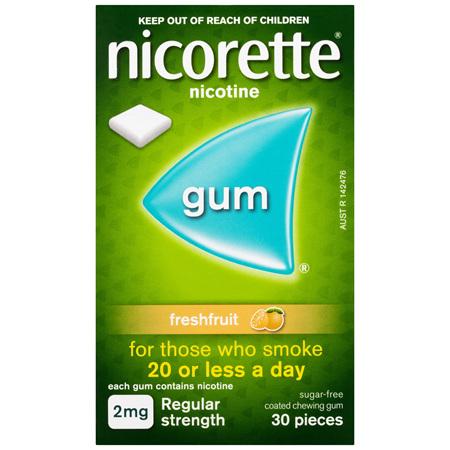 Nicorette Quit Smoking Nicotine Gum Freshfruit 2mg Regular Strength 30 Pack