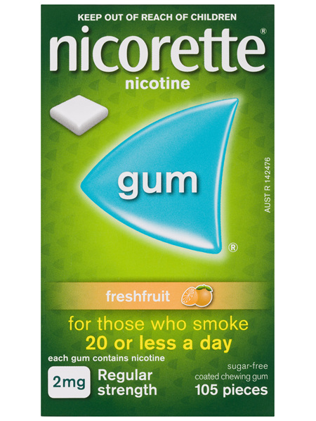 Nicorette Quit Smoking Nicotine Gum Freshfruit 2mg Regular Strength 105 Pack