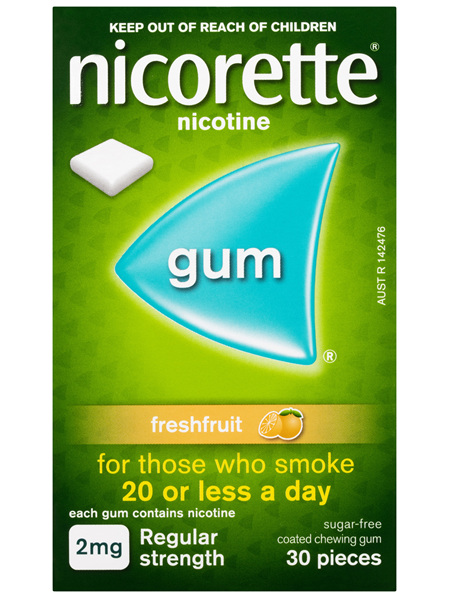 Nicorette Quit Smoking Nicotine Gum Freshfruit 2mg Regular Strength 30 Pack
