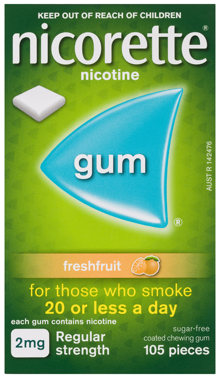 Nicorette Quit Smoking Nicotine Gum Freshfruit 2mg Regular Strength 105 Pack