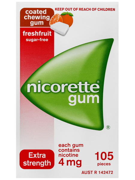 Nicorette Quit Smoking Nicotine Gum Freshfruit 4mg Extra Strength 105 Pack