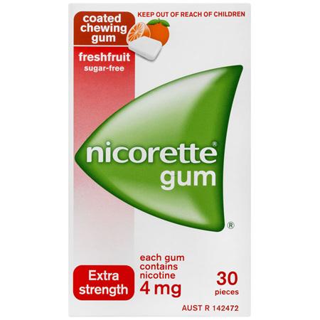Nicorette Quit Smoking Nicotine Gum Freshfruit Extra Strength 30 Pack