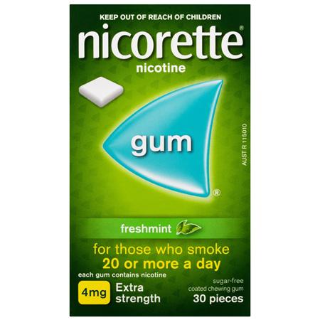 Nicorette Quit Smoking Nicotine Gum Freshmint 4mg Extra Strength 30 Pack