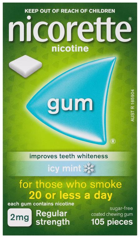 Nicorette Quit Smoking Nicotine Gum Icy Mint 2mg Regular Strength 105 Pack