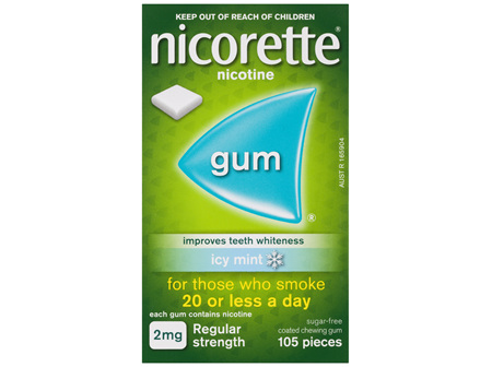 Nicorette Quit Smoking Nicotine Gum Icy Mint 2mg Regular Strength 105 Pack