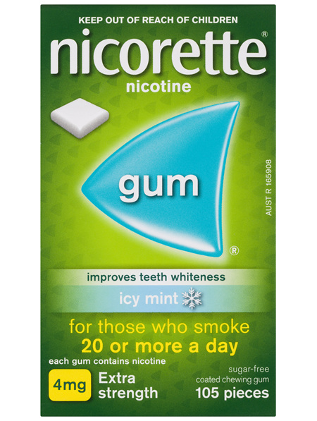 Nicorette Quit Smoking Nicotine Gum Icy Mint Extra Strength 105 Pack