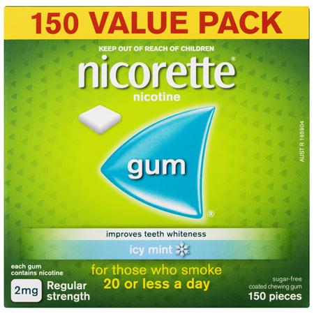 Nicorette Quit Smoking Nicotine Gum Regular Strength 2mg Icy Mint 150 Pack