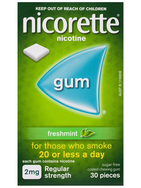 Nicorette Quit Smoking Nicotine Gum Regular Strength 2mg Freshmint 30 Pack