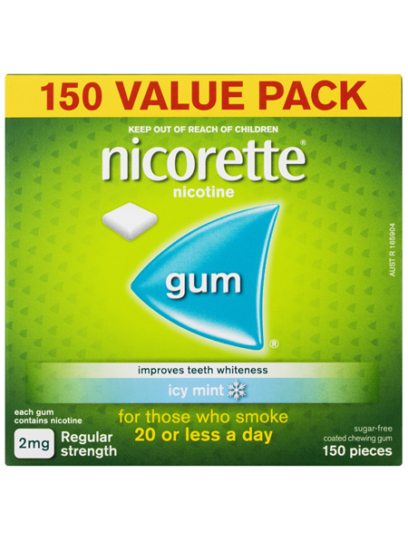 Nicorette Quit Smoking Nicotine Gum Regular Strength 2mg Icy Mint 150 Pack