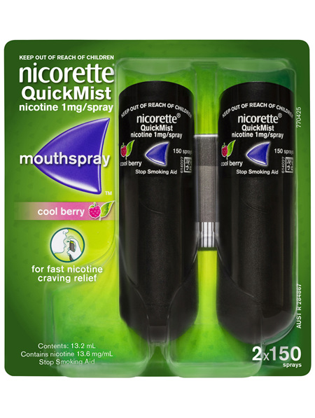 Nicorette Quit Smoking QuickMist Mouth Spray Cool Berry 2 x 150 Sprays