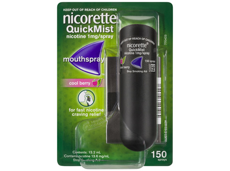 Nicorette Quit Smoking QuickMist Mouth Spray Cool Berry 150 Sprays