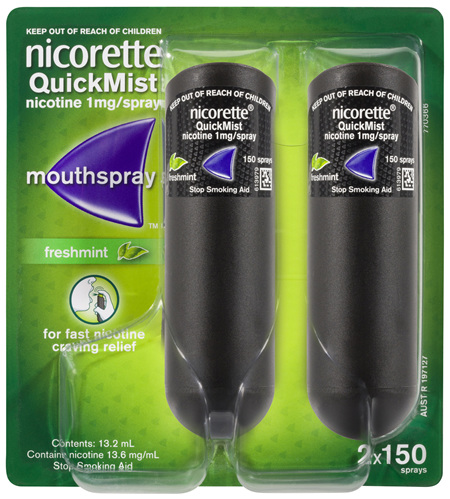 Nicorette Quit Smoking QuickMist Mouth Spray Freshmint 1mg 13.2mL 2 Pack