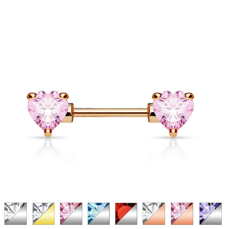 Nipple Bar w/ Double Front Facing Heart CZ Prongs