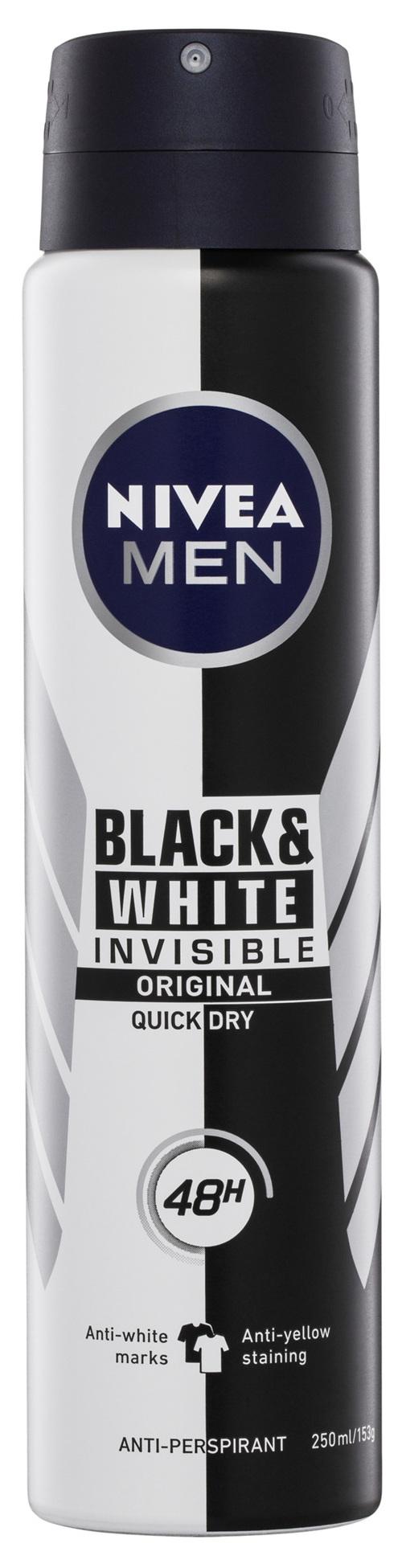 NIVEA MEN Invisible Black & White Power Aerosol Deodorant 250ml