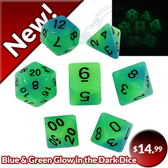 Now Available 7 Blue & Green  Glow in the Dark Dice Games and Hobbies