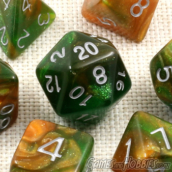 Now available Green and Orange with Silver Stardust Dice
