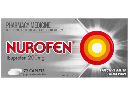 Nurofen Caplets 72s 200mg Ibuprofen anti-inflammatory pain relief