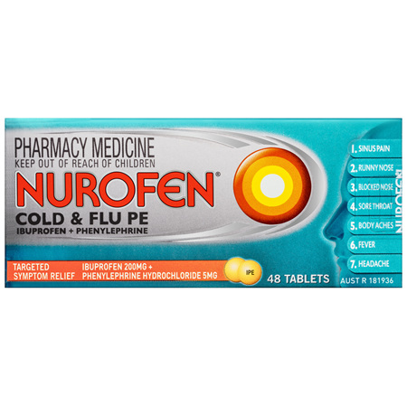 Nurofen Cold and Flu Multi-Symptom Relief Tablets 200mg Ibuprofen 48 pack