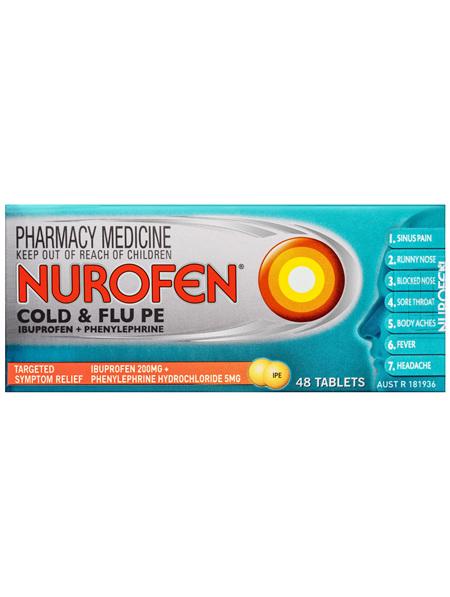 Nurofen Cold and Flu Multi-Symptom Relief Tablets 200mg Ibuprofen 48 pack