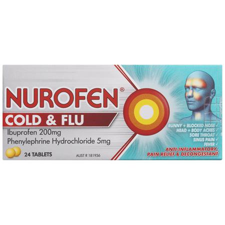 Nurofen Cold and Flu Tablets 200mg Ibuprofen 24 Pack