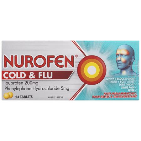 Nurofen Cold and Flu Tablets Multi-Symptom Relief 200mg Ibuprofen 24 Pack