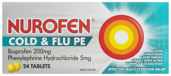 Nurofen Cold and Flu Tablets Multi-Symptom Relief 200mg Ibuprofen 24 Pack