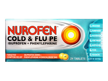 Nurofen Cold & Flu PE Tablets Pain Relief 200mg 24 Pack