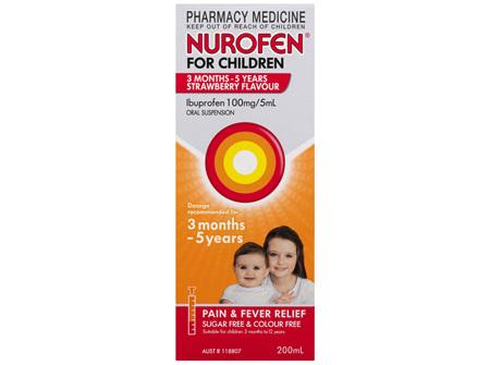 Nurofen For Children 1-5yrs Pain and Fever Relief 100mg/5mL Ibuprofen Strawberry 200mL