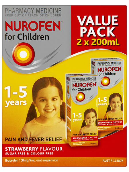 Nurofen For Children 1-5yrs Pain and Fever Relief 100mg/5mL Ibuprofen Strawberry 2 x 200mL