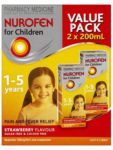 Nurofen For Children 1-5yrs Pain and Fever Relief 100mg/5mL Ibuprofen Strawberry 2 x 200mL