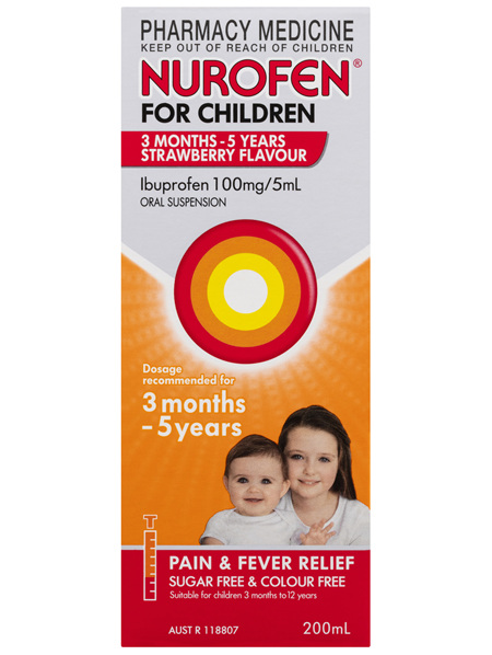 Nurofen For Children 1-5yrs Pain and Fever Relief 100mg/5mL Ibuprofen Strawberry 200mL