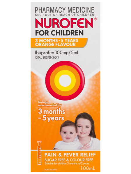 Nurofen For Children 1yrs - 5yrs Pain and Fever Relief 100mg Ibuprofen Orange 100mL