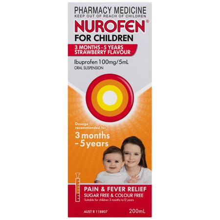 Nurofen For Children 3 Months - 5 Years, Strawberry 200mL