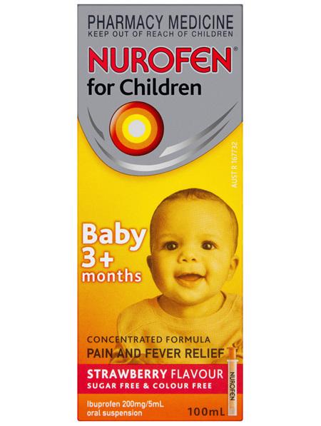 Nurofen For Children 3+ Months Liquid Pain Relief Strawberry 100ml